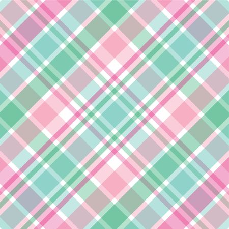 Illustration of pastel pink and green plaid illustration