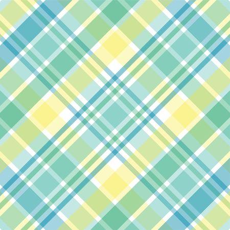 黄色、緑および青のパステル調の格子縞の図 写真素材