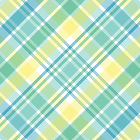 teal: Illustration of yellow, green and blue pastel plaid
