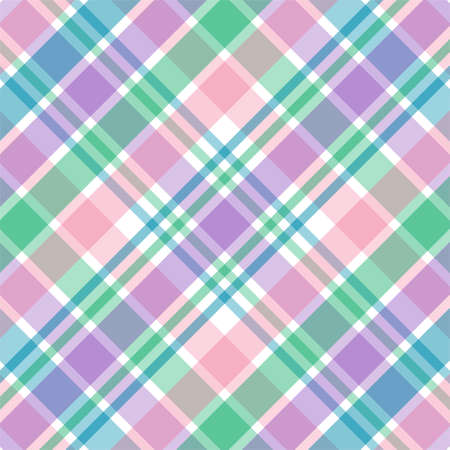 Illustration of pink,purple, green and blue pastel plaid illustration