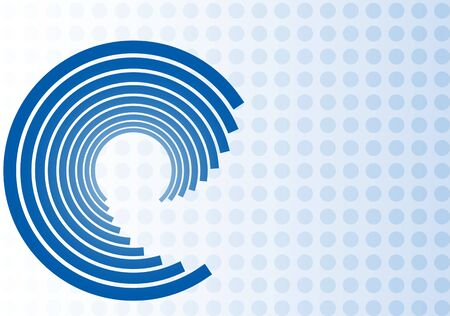 Vector illustration of blue swirl design on blue dot background with space for text Stock Photo