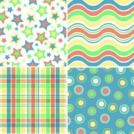 4 つの黄色、オレンジ、青および緑のパターンのイラスト