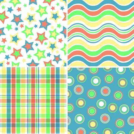blue circles: Illustration of four yellow, orange, blue and green patterns Stock Photo