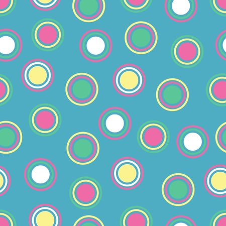 Illustration of bright polka dots on blue background