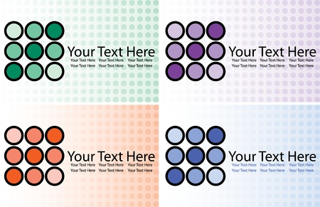 polkadots: Illustration of business card design with space for text in four colors