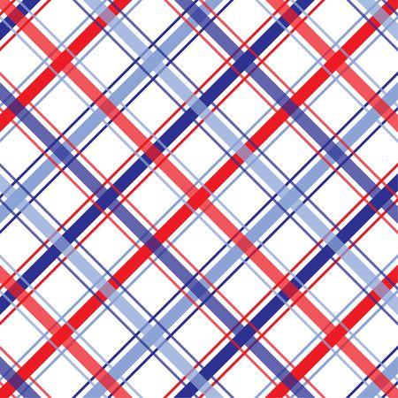 赤、白および青の格子縞のパターンの背景イラスト