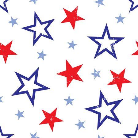白地に赤と青の星の背景イラスト