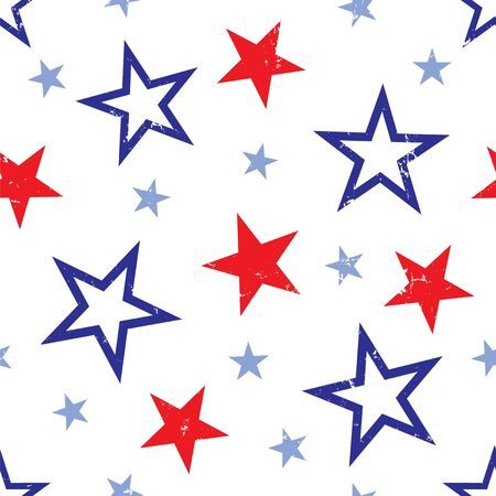 Background illustration of red and blue stars on white background