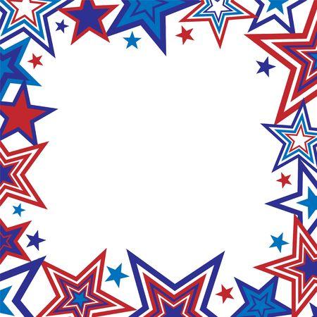 図のテキスト用のスペースと白地に赤と青の星の罫線
