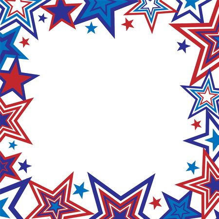 Illustration of red and blue stars border on white background with space for text