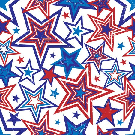 Illustration of red and blue stars with grunge effect on white background