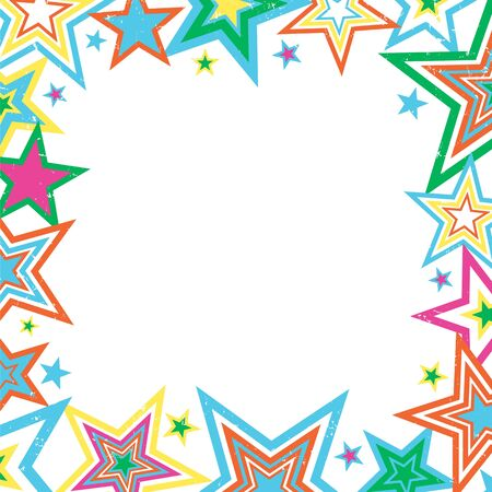 Illustration of bright stars border on white background with space for text Stock Photo