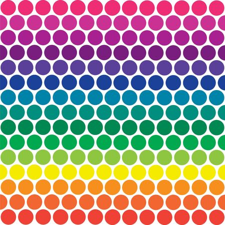 Illustration of bright rainbow colored polka dots