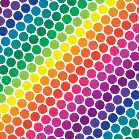 diagonal lines: Illustration of bright rainbow colored polka dots in diagonal lines