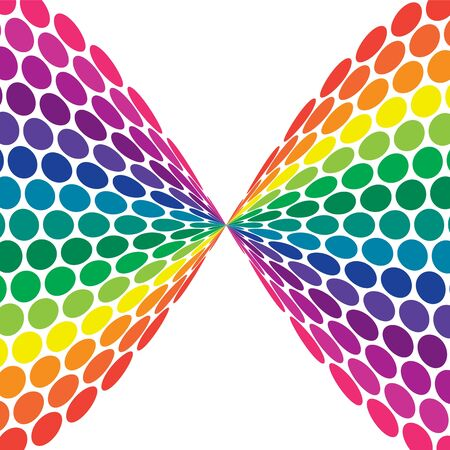 Illustration of bright rainbow colored polka dots twisted in bow shape illustration