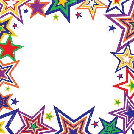 Illustratie van heldere regenboog gekleurde sterren grens op witte achtergrond met ruimte voor tekst Stockfoto