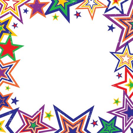 Illustration of bright rainbow colored stars border on white background with space for text