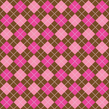 Background illustration of pink and brown argyle pattern illustration
