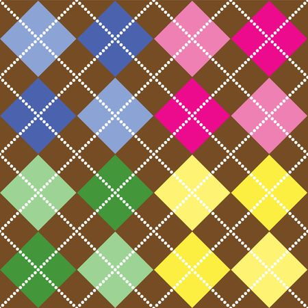 Background illustration of multi-colored argyle pattern on brown background illustration