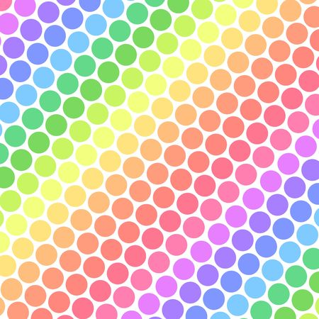 Pastel rainbow colored polka dots in diagonal lines Stock Photo