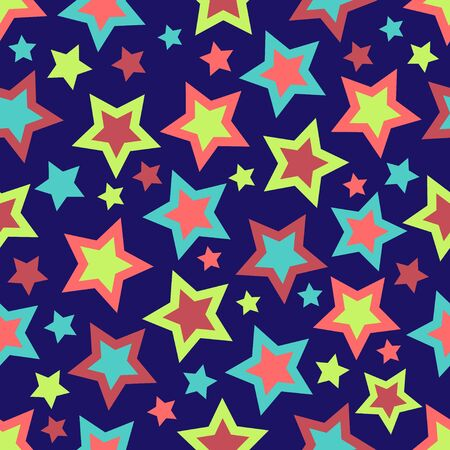 navy blue background: Stars illustration in bold colors on navy blue background