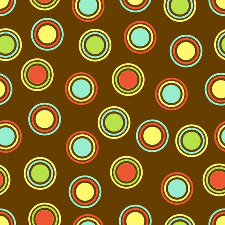 Polka Dots pattern in bright colors on brown background Stock Photo