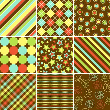 Set of nine background patterns in fall colors  photo