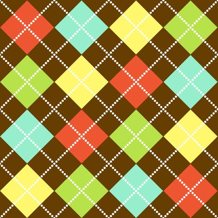Argyle pattern in bright colors on brown background
