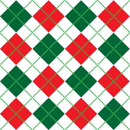 赤、白と緑のアーガイル柄の背景イラスト