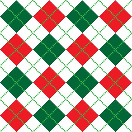 Background illustration of red, white and green argyle pattern Stock Photo