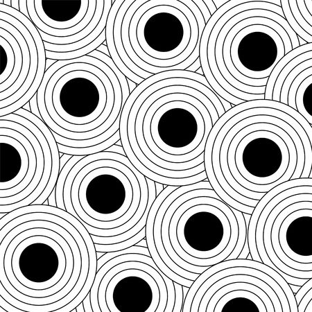 round: Background pattern of large black polka dots with outlines