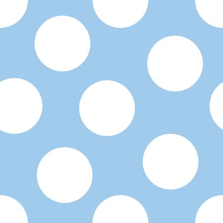 青色の背景に大きな白の水玉のイラスト