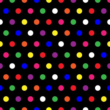 Illustration of small rainbow colored polka dots on black background illustration