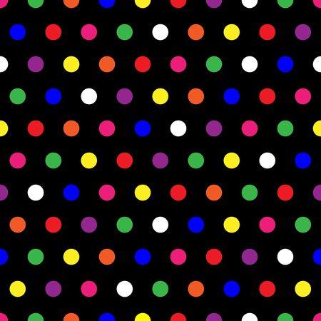 red polka dots: Ilustraci�n de los peque�os lunares de color arco iris puntos sobre fondo negro