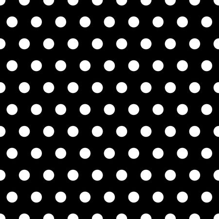 round dot: White polka dots illustration on black background