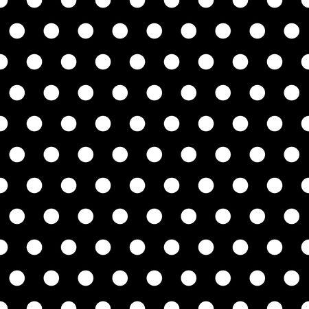 Witte stippen polka illustratie op een zwarte achtergrond Stockfoto