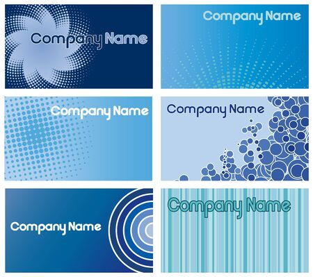 Set of six blue  card designs