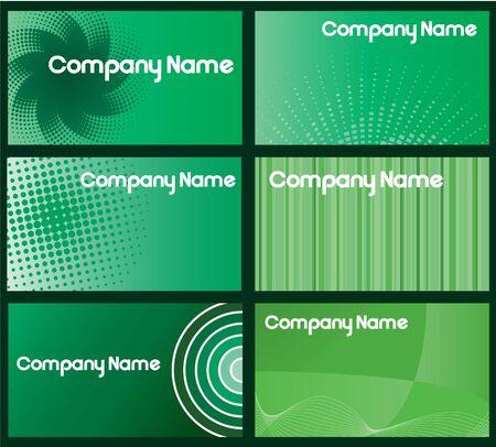 一連の六つの緑のビジネス カードのデザイン