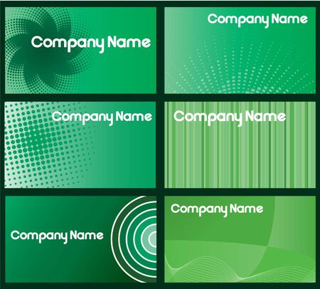 A set of six green business cards designs  Stock Photo