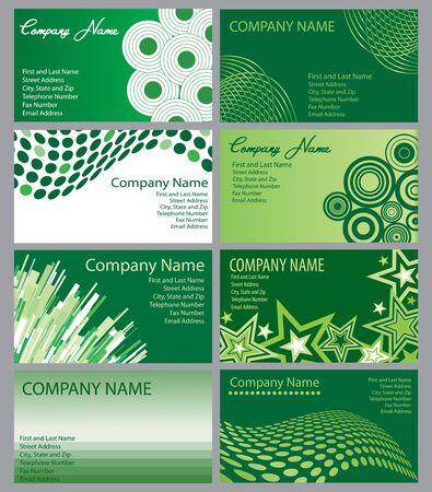 8 つの緑のビジネス カード デザインのセット 写真素材