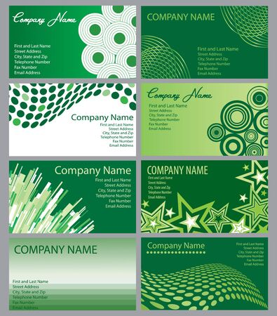 A set of eight green business cards designs  Stock Photo