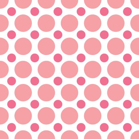 large: A seamless background pattern of alternating pink dots