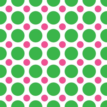 A background pattern of alternating large green and small pink dots