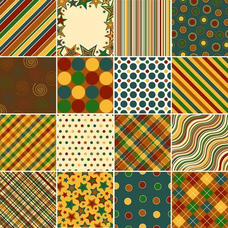 red polka dots: Conjunto de patrones de diecis�is antecedentes en el oto�o de colores  Foto de archivo