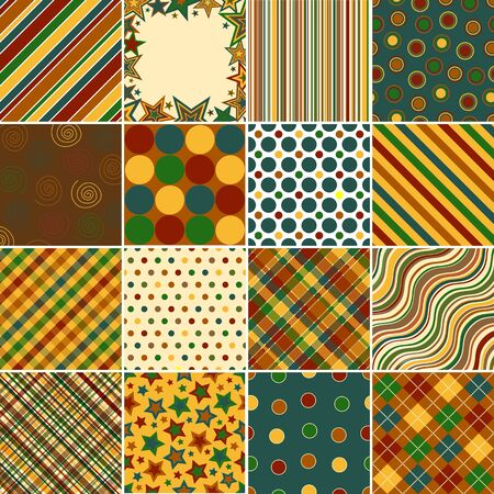Set of sixteen background patterns in Fall colors