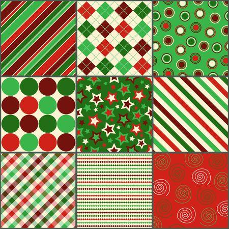 red polka dots: Conjunto de nueve patrones de fondo en colores de Navidad