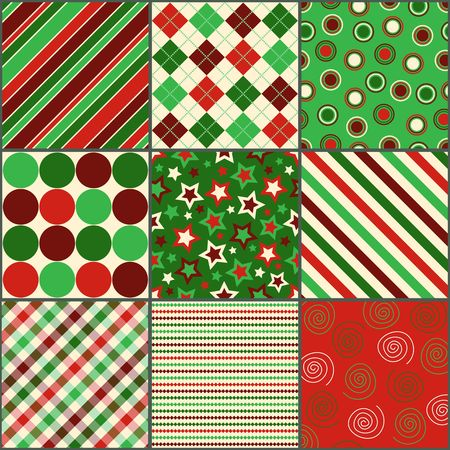 Set of nine background patterns in Christmas colors  Stock Photo