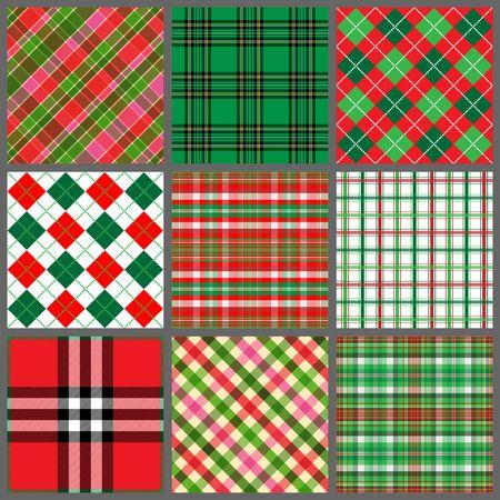 クリスマス色の 9 つの格子縞背景パターンのセット