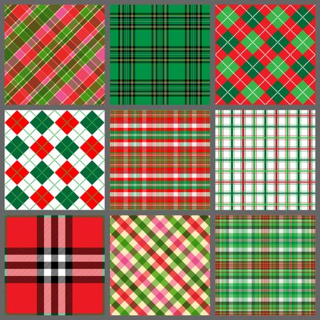 A set of nine plaid background patterns in Christmas colors Stock Photo