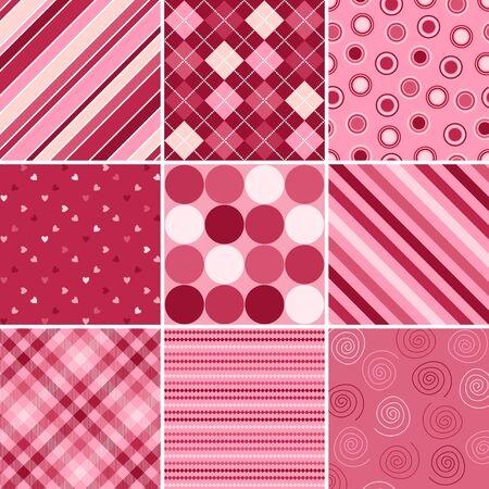 バレンタインデーのための 9 つの背景パターンのセット 写真素材